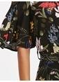 LC Waikiki Desenli Maroken Gömlek Elbise Siyah